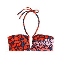 Tropical floral ruched halter bandeau top