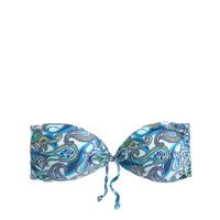 Blue paisley tie-front bandeau top