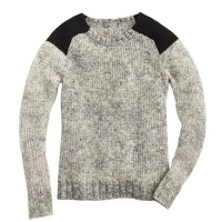 Marled colorblock-shoulder sweater
