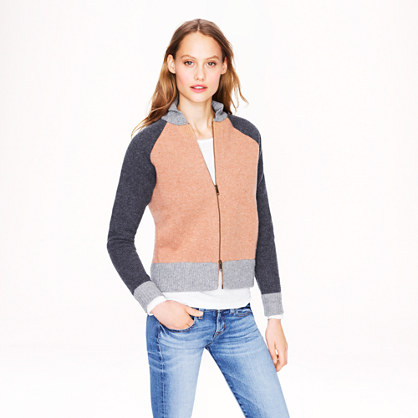Bonded-wool varsity sweater-jacket