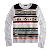 Jeweled Fair Isle stripe sweater