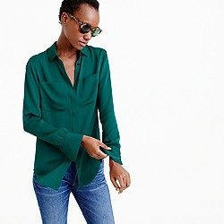 Tall silk pocket blouse