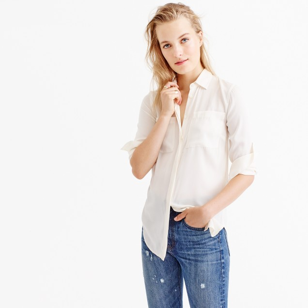Petite silk pocket blouse