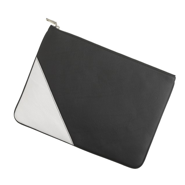 Large colorblock leather pouch