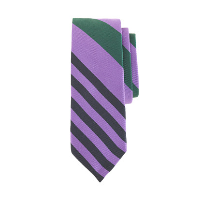 Boys' silk tie in mixed stripe