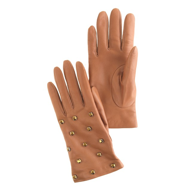 Jeweled cashmere-lined leather gloves