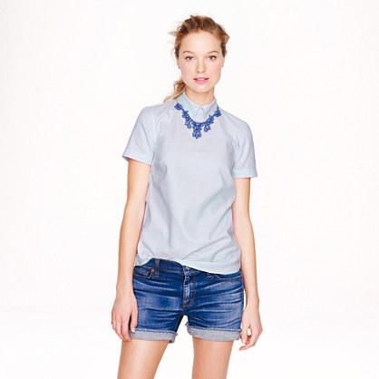 Zip-back stripe shirt
