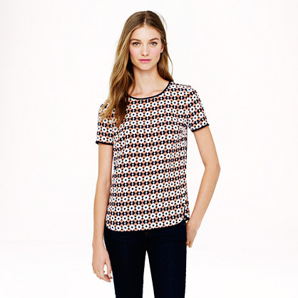 Tipped silk tee in diamond tile