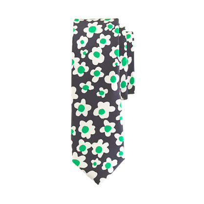 Boys' flower-print silk tie