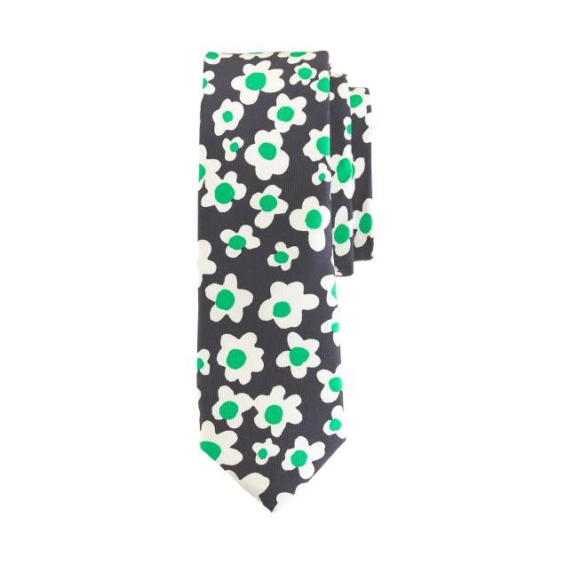 Boys' flower-print silk tie