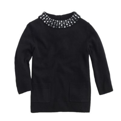 Girls' sparkle-collar sweater :