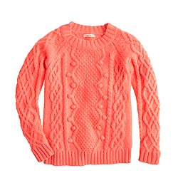Girls' pom-pom cable sweater