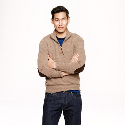 Slim rustic merino elbow-patch half-zip sweater