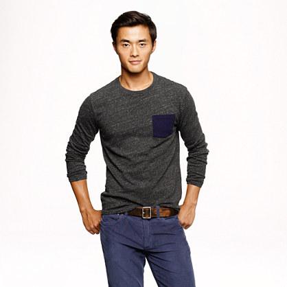 Slim flagstone long-sleeve contrast pocket tee
