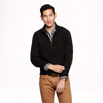 Rustic merino elbow-patch half-zip sweater