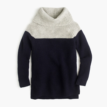 Girls' colorblock wool turtleneck
