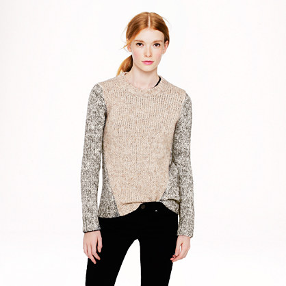 Marled contrast-sleeve sweater