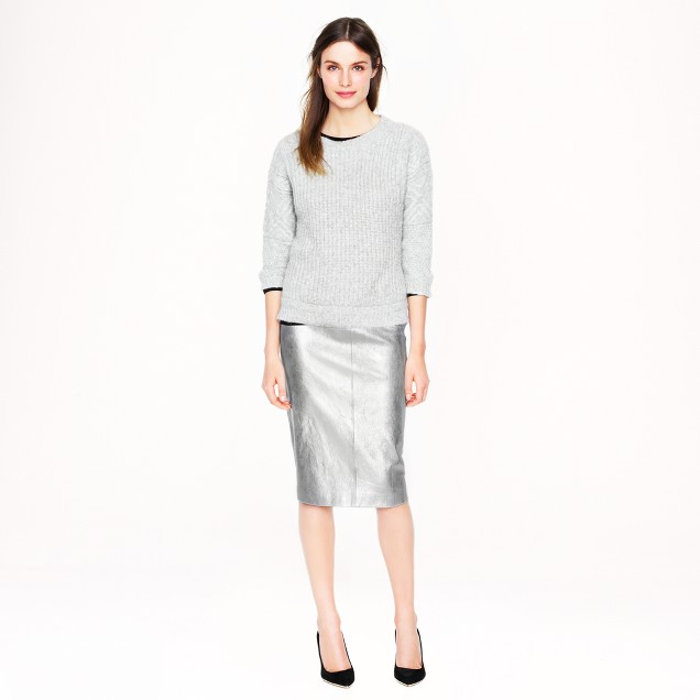 Collection metallic leather pencil skirt