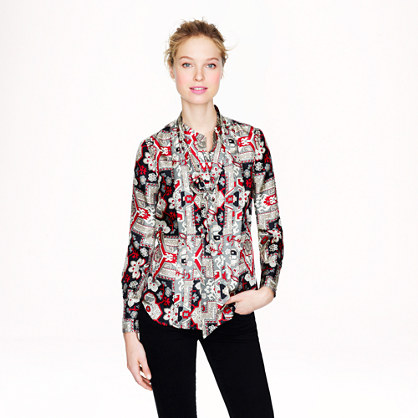 Italian silk secretary blouse in tapestry print