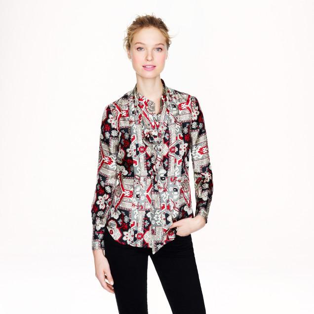 Italian silk secretary blouse in tapestry print