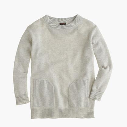 Girls' cashmere pocket sweater