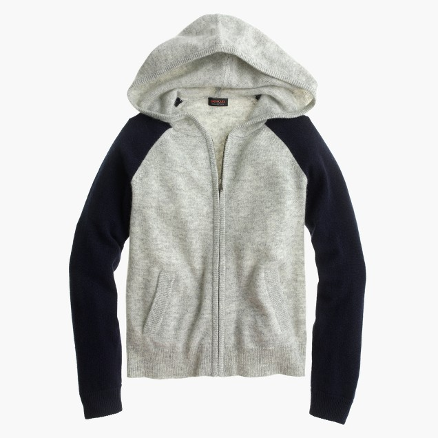 Girls' colorblock cashmere hoodie