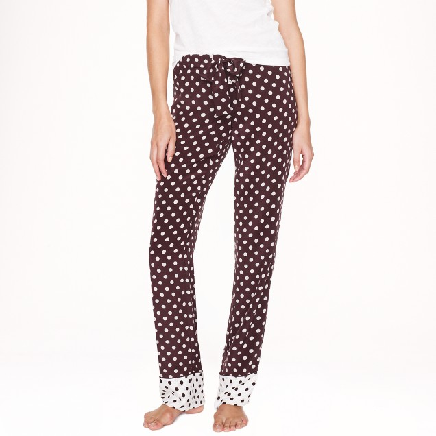 Silk pajama pant in colorblock dot