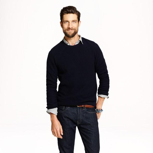 Wool-cashmere waffle sweater