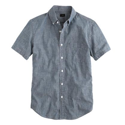 Short-sleeve indigo Japanese chambray shirt