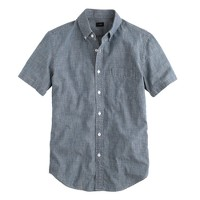 Short-sleeve indigo Japanese chambray shirt