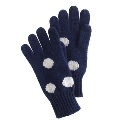 Girls' polka-dot cashmere gloves