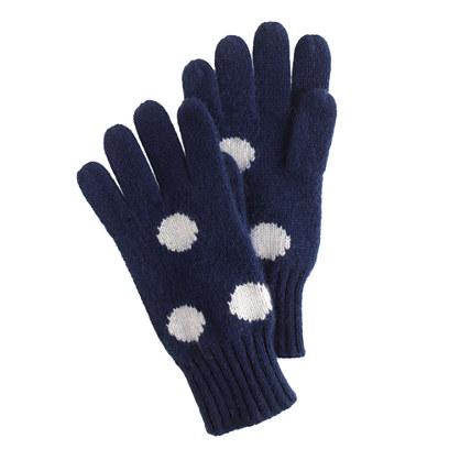 Girls' polka-dot cashmere gloves