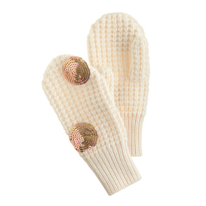 Girls' sequin dot mittens