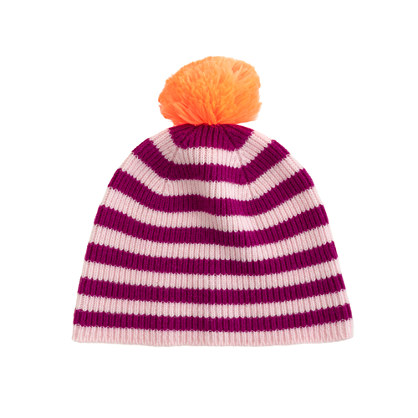 Girls' cashmere stripe & neon hat