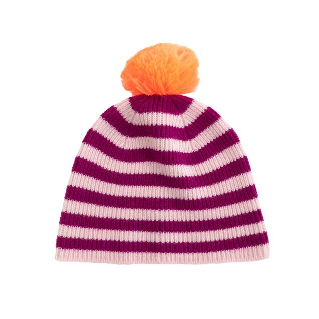 Girls' cashmere stripe & neon hat
