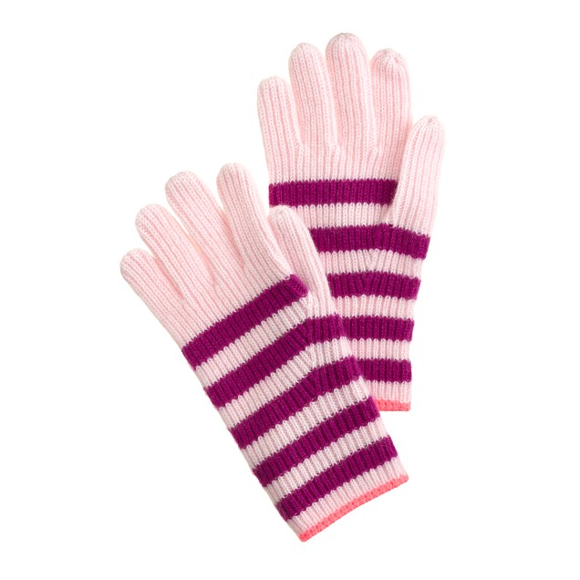 Girls' cashmere stripe & neon gloves