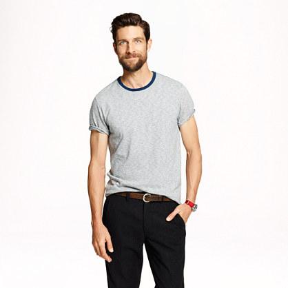 Ringer T-shirt in light grey stripe
