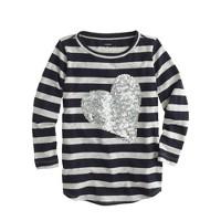 Girls' stripe sequin heart tee