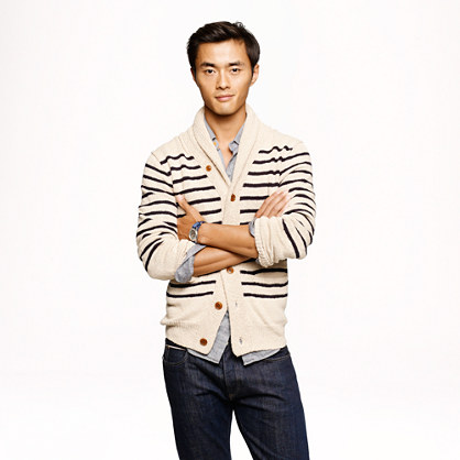 Stripe cotton shawl cardigan