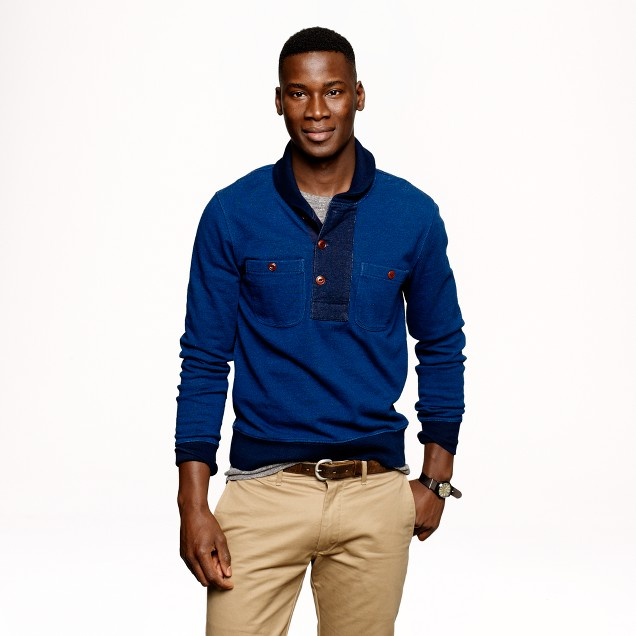 Wallace & Barnes contrast indigo shawl-collar sweatshirt