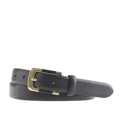 Leather stripe-buckle belt
