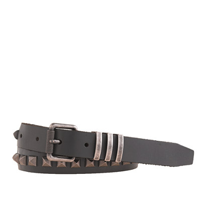 Leather pyramid stud belt