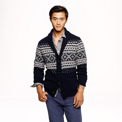 Alpaca Fair Isle shawl cardigan