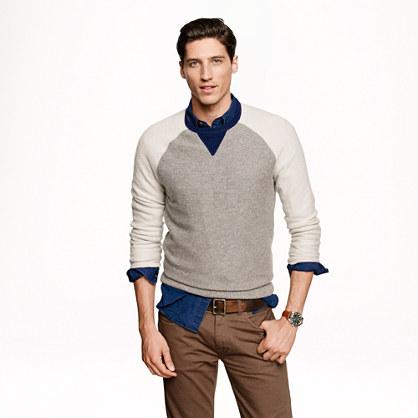 Cashmere colorblock sweatshirt