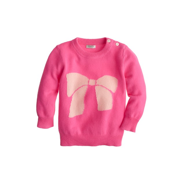 Cashmere baby sweater in big bow