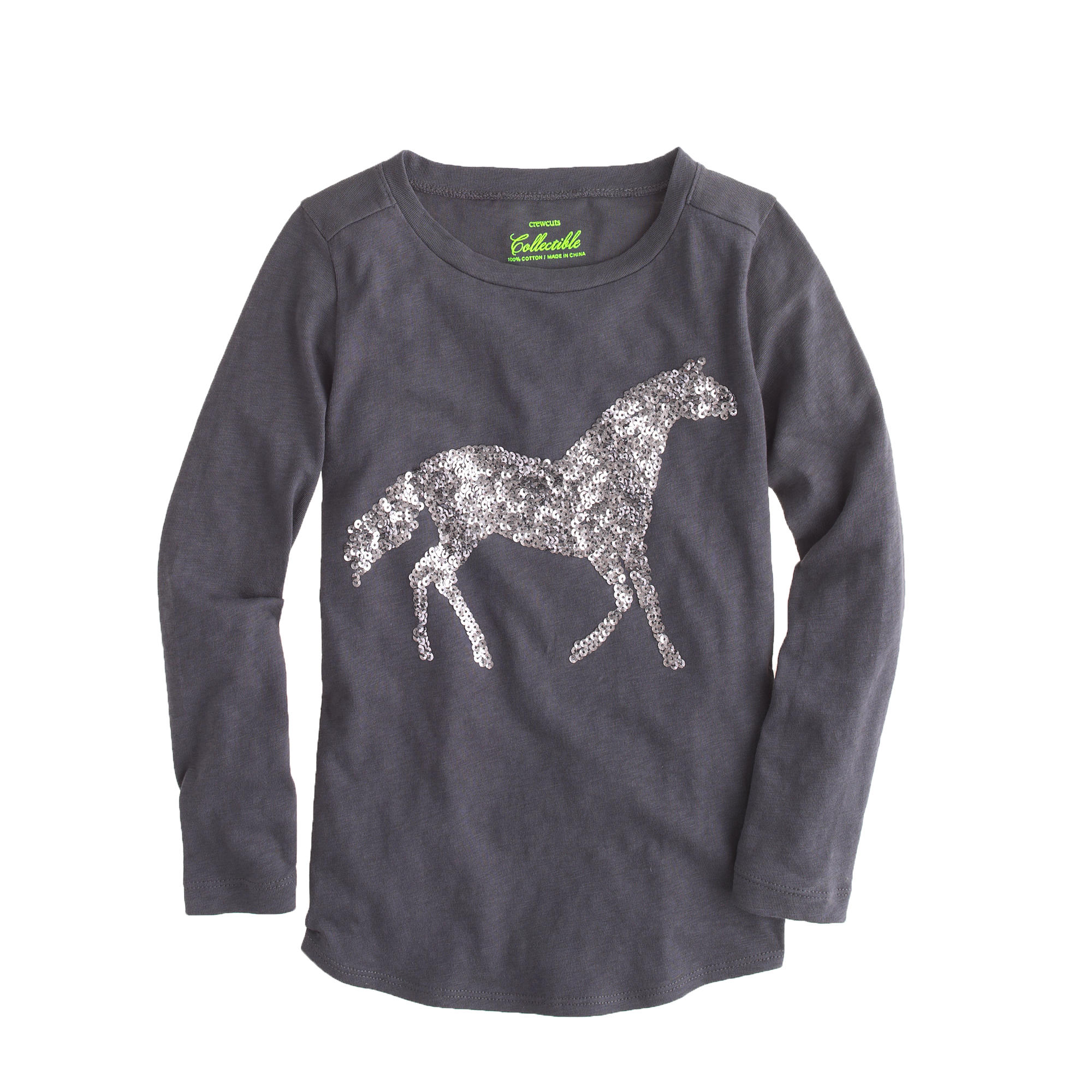 Girls 39 long sleeve sequin horse t shirt j crew for Girls sequin t shirt