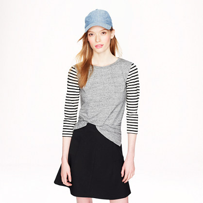 Stripe-sleeve T-shirt