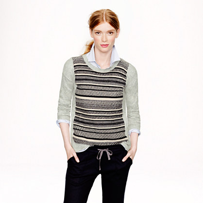 Textured-stripe sweater in grey