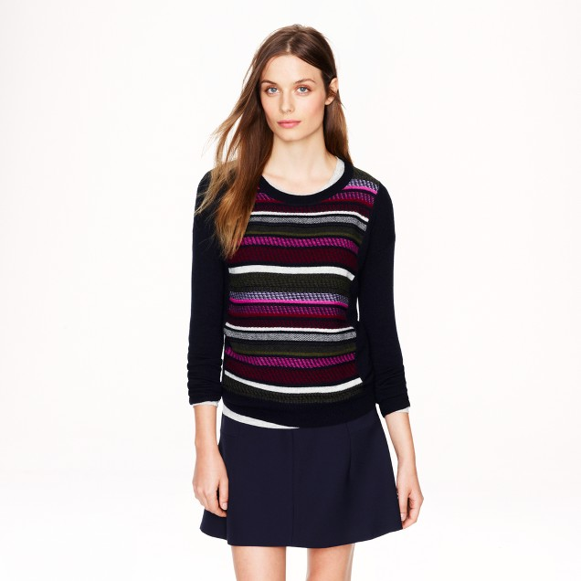 Textured-stripe sweater in navy