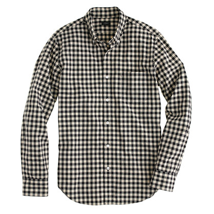 Secret Wash shirt in ivory mini buffalo check